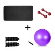 Tapete de Yoga Natural Fitness EVA - 10mm + Par de Halter - 2kg + Par de Caneleira - 1kg + Bola Suíça - 55cm