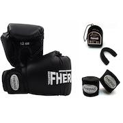 Kit Boxe Muay Thai Fheras Promoção Fight: Luva +  Bandagem + Bucal