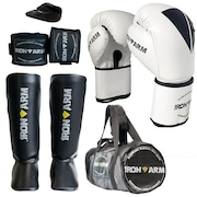 d46bbd548 Kit de Boxe Muay Thai Iron Arm com Luva + Caneleira G + Bolsa + Bandagem