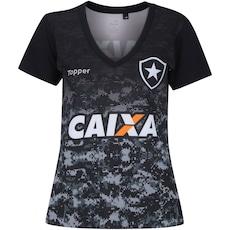 Agora 47% Desconto. Camisa do Botafogo Aquecimento 2017 Topper - Feminina d3a890b61130c