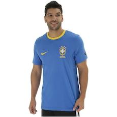 7bde9fa230 Agora 23% Desconto. Camiseta da Seleção Brasileira 2018 Crest Nike ...