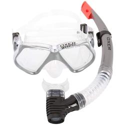 Kit de Mergulho: Snorkel e Máscara de Mergulho Oxer Pro Silicone - Adulto - CINZA