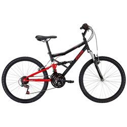 Bicicleta Caloi Shok - Aro 24 - Freio V-Brake - Câmbio Traseiro Caloi - 21 Marchas - PRETO/VERMELHO