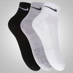 Kit de Meia Nike Swoosh Cano Médio com 3 Pares - Adulto - BRANCO/PRETO