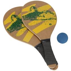 Kit de Frescobol Oxer Estamp com 2 Raquetes e 1 Bola