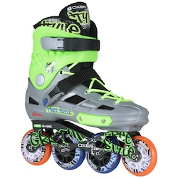 Patins Oxer Graffiti - In Line - Freestyle - ABEC 7 - Adulto - CINZA/VERDE
