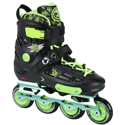 Patins Oxer Freestyle - In Line - Freestyle / Slalom - ABEC 9 - Base de Alumínio - PRETO/VERDE CLA