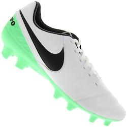 Chuteira de Campo Nike Tiempo Mystic V FG - Adulto - Branco/Verde Cla