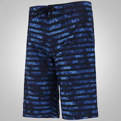Bermuda Oxer Boardshort Striped Blurred - Masculina - PRETO/AZUL