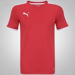 Camiseta Puma Pitch Shortsleeved - Masculina - VERMELHO/BRANCO