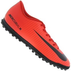 745b5589df Chuteira Society Nike Mercurial Vortex Iii Tf - Adulto - Vermelho preto