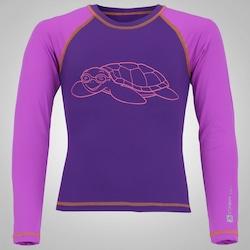 e6da9930f3 Camiseta Manga Longa Com Proteção Solar Uv Oxer Tartaruga - Infantil -  Roxo roxo Cla