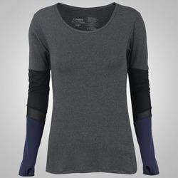 Camiseta Manga Longa Oxer Romain - Feminina - CINZA/PRETO