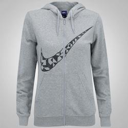 Jaqueta de Moletom com Capuz Nike Hoodie FZ GX Tangrams - Feminina - CINZA/PRETO