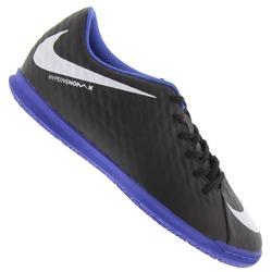 Chuteira Futsal Nike Hypervenom X Phade III IC - Adulto - PRETO/AZUL