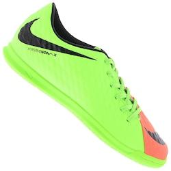 Chuteira Futsal Nike Hypervenom X Phade III IC - Adulto - Verde Cla/Laranja