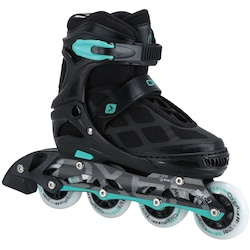 Patins Oxer First Wheels - In Line - Fitness - Ajustável - Infantil - PRETO/AZUL