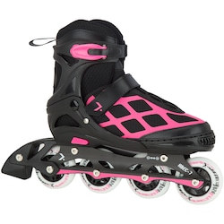 Patins Oxer First Wheels - In Line - Fitness - Ajustável - Infantil - PRETO/ROSA