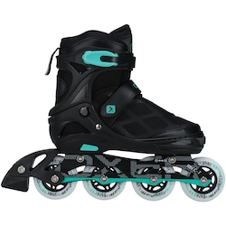 Patins Oxer First Wheels - In Line - Fitness - Ajustável - Infantil - PRETO/AZUL CLA