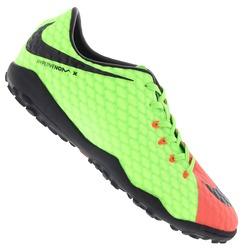 Chuteira Society Nike Hypervenom X Phelon III TF - Adulto - Verde Cla/Laranja
