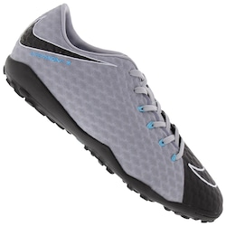 Chuteira Society Nike Hypervenom X Phelon III TF - Adulto - CINZA CLA/PRETO