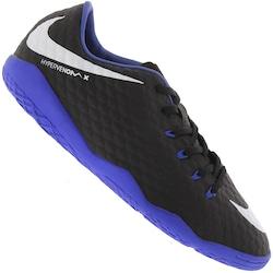 Chuteira Futsal Nike Hypervenom X Phelon III IN - Adulto - PRETO/AZUL