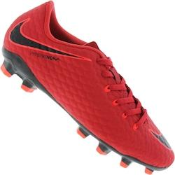 Chuteira De Campo Nike Hypervenom Phelon Iii Fg - Infantil - Vermelho preto 0faa061325ab5