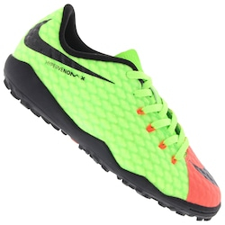 be41020ff0d7b Chuteira Society Nike Hypervenom X Phelon Iii Tf - Infantil - Verde  Cla laranja