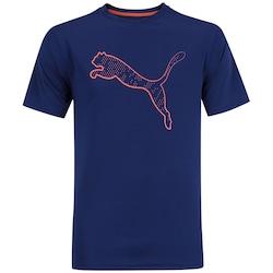 Camiseta Puma Essential Cat - Masculina - AZUL ESC/ROSA