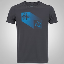 Camiseta Asics Training Body and Mind - Masculina - CINZA ESCURO