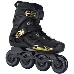 Patins Oxer Darkness Gold - In Line - Freestyle - ABEC 7 - Base de Alumínio - Adulto - PRETO/OURO