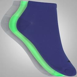 Kit de Meias Mizuno Invisível Neon com 3 Pares - Masculino - CINZA/AZUL