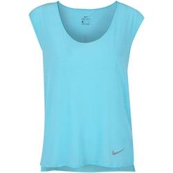 Camiseta Nike Breathe Running Top - Feminina - Azul Cla/Prata