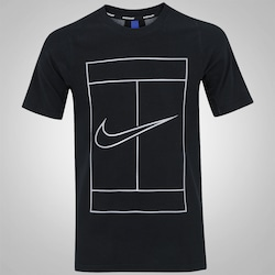 Camiseta Nike Court Dry Base - Masculina - PRETO/BRANCO