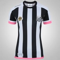 Camisa do Santos II 2017 Kappa - Feminina - PRETO/BRANCO