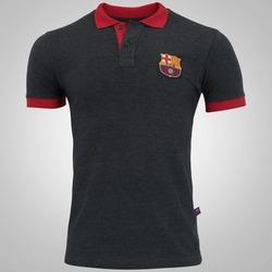 Camisa Polo Barcelona Brasão - Masculina - CINZA ESCURO