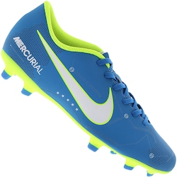Chuteira de Campo Nike Mercurial X Vortex III Neymar FG - Adulto - AZUL CLA/VERDE CLA