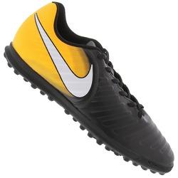 Chuteira Society Nike Tiempo X Rio IV TF - Adulto - PRETO/AMARELO ESC