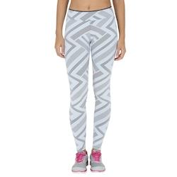Calça Legging com Proteção Solar UV Oxer Jacquard Zip - Feminina - BRANCO/CINZA