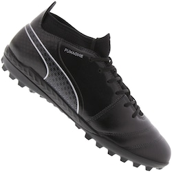 Chuteira Society Puma One 17.3 TF - Adulto - PRETO/PRATA