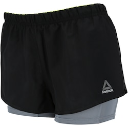 Shorts Reebok 2IN1 RE - Feminino - PRETO/CINZA