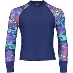 Camiseta Manga Longa com Proteção Solar UV Oxer Tetris Feminina - Infantil - AZUL ESCURO
