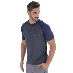 Camiseta com Proteção Solar UV Oxer Samoa Apia - Masculina - Cinza Esc/Azul Esc