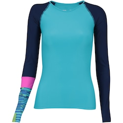 Camiseta Manga Longa com Proteção Solar UV Oxer Samoa - Feminina - AZUL CLA/AZUL ESC