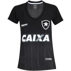 Camisa do Botafogo II 2018 Topper - Feminina - PRETO/CINZA ESC