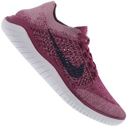 Tênis Nike Free RN Flyknit 2018 - Feminino - Rosa Esc/Branco