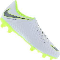 Chuteira de Campo Nike Hypervenom Phantom 3 Club FG - Adulto - BRANCO/CINZA