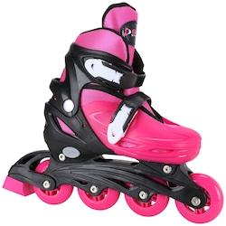 Kit Patins Bel Sports Radical Rollers: Patins Ajustável + Kit de Proteção - Infantil - ROSA/PRETO