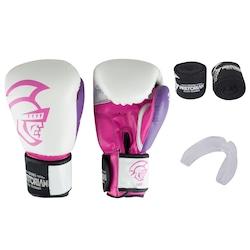 Kit de Boxe Pretorian: Bandagem + Protetor Bucal + Luvas de Boxe Elite - 12 OZ - Adulto - BRANCO/ROSA