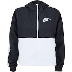 Jaqueta Corta-Vento com Capuz Nike Sportswear Woven Core - Feminina - PRETO/BRANCO